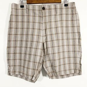 Banana Republic Tan Blue Plaid Aiden Shorts Siz 33